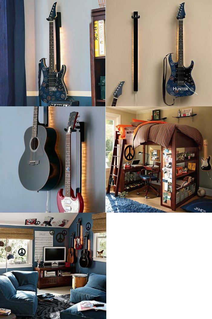 Backlit Guitar Mounts Flanking Either Side Of The Upper