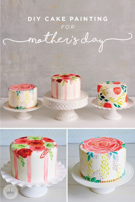 "Treat mom to a hand-painted cake this Mother's Day. These gorgeous cakes are covered in white fondant and decorated with ""paint"" made from watered down gel icing. With this helpful tutorial, from Think.Make.Share, a blog from the Creative Studios at Hallmark, it's easy to accomplish these artistic desserts on your own!"