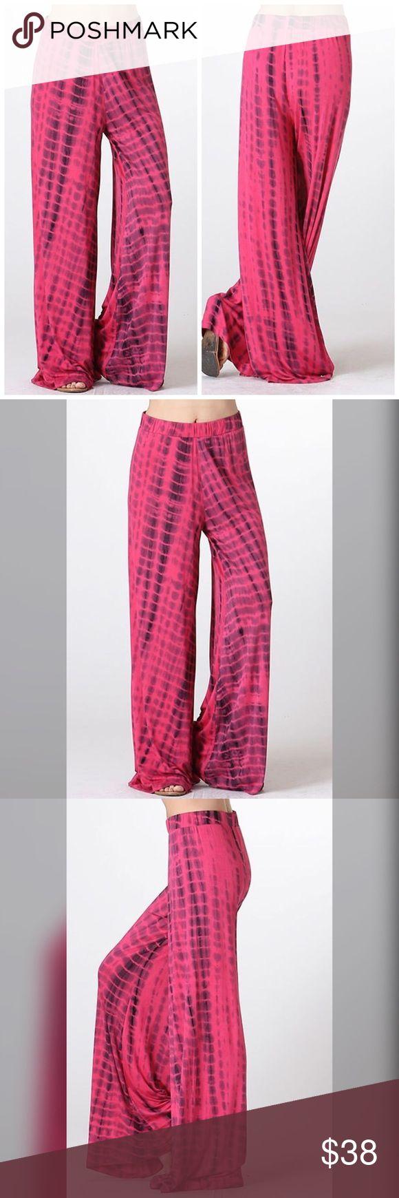 Cotton Palazzo Pants FUCHSIA (ELASTIC WAISTBAND TIE DYE PANTS) 95% RAYON 5% SPANDEX Pants Wide Leg