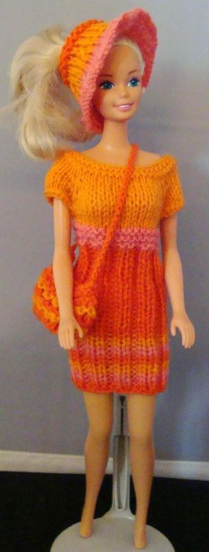 Ladyfingers - Teen Fashion Doll (Barbie) Ribbed Sweater Dress, Hat, Purse.  I think this would be great fun to do for granddaughters' Barbies!