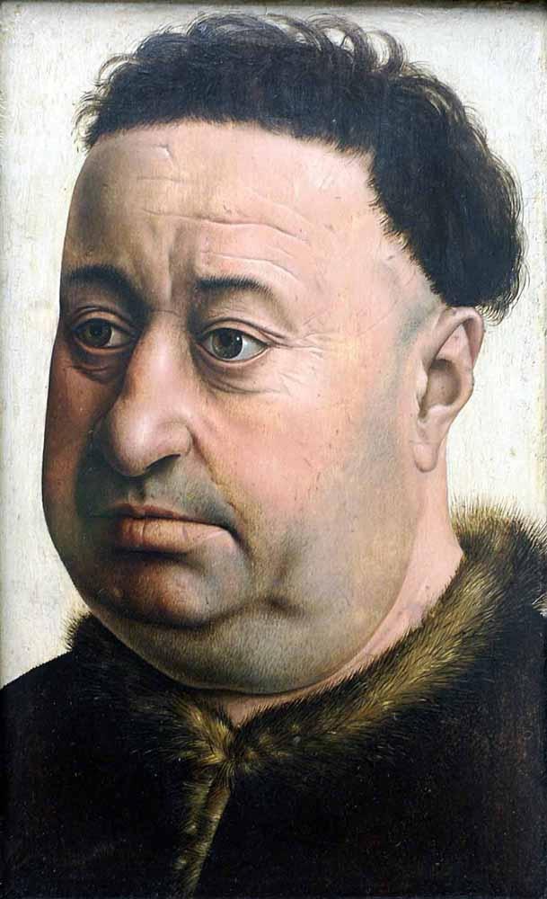 Robert Campin - Flemish (c.1378 -1444) - Portrait of a Stout Man (Robert de Masmines?). | c. 1425-1430