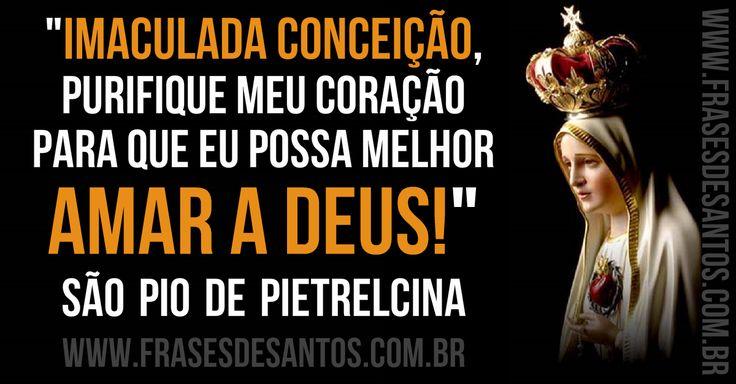 """""""Imaculada Conceição, purifique meu coração para que eu possa melhor amar a Deus!."""" SãoPiodePietrelcina"""