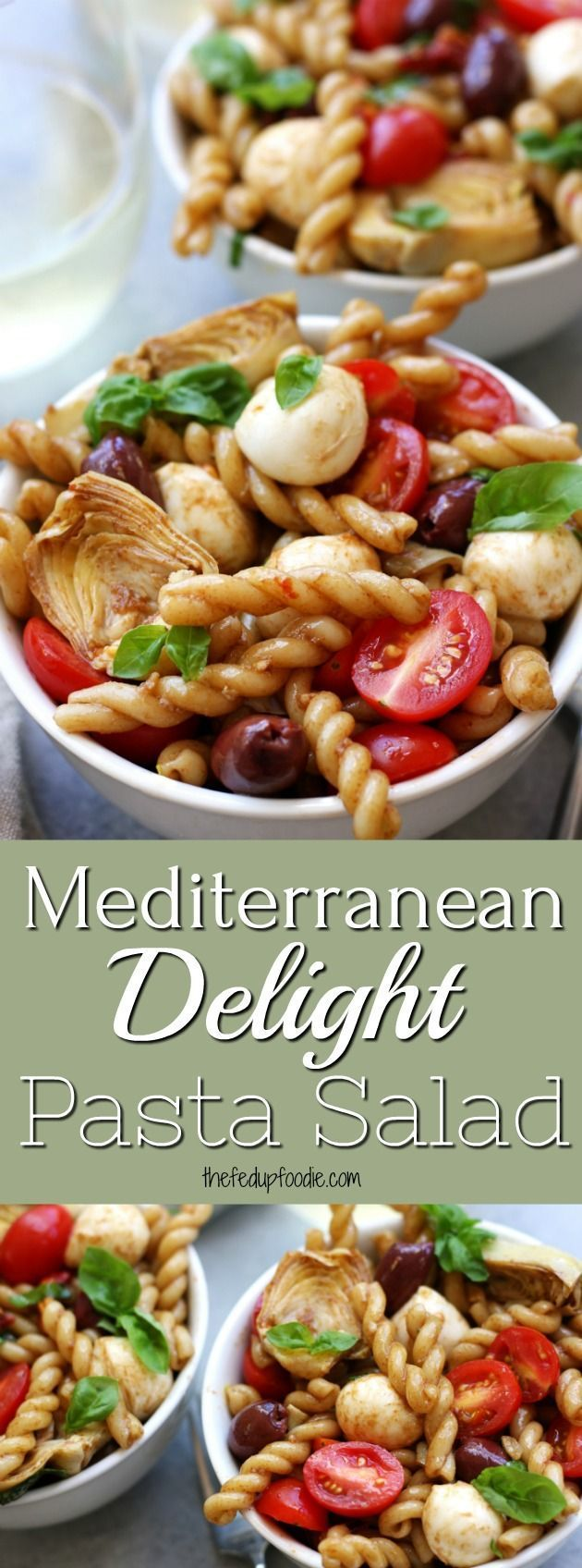 Mediterranean Delight Pasta Salad is an absolute crowd pleaser with a balsamic vinaigrette, creamy mozzarella, kalamata olives and artichoke hearts. A light meal that is great for diners or work lunches and only takes 20 minutes. Stopping at one bowl is almost impossible.