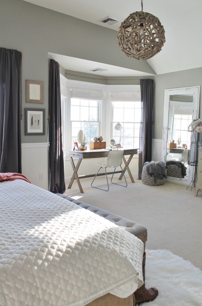City Farmhouse-Rustic Chic Master Bedroom With Grays & Warm Coral