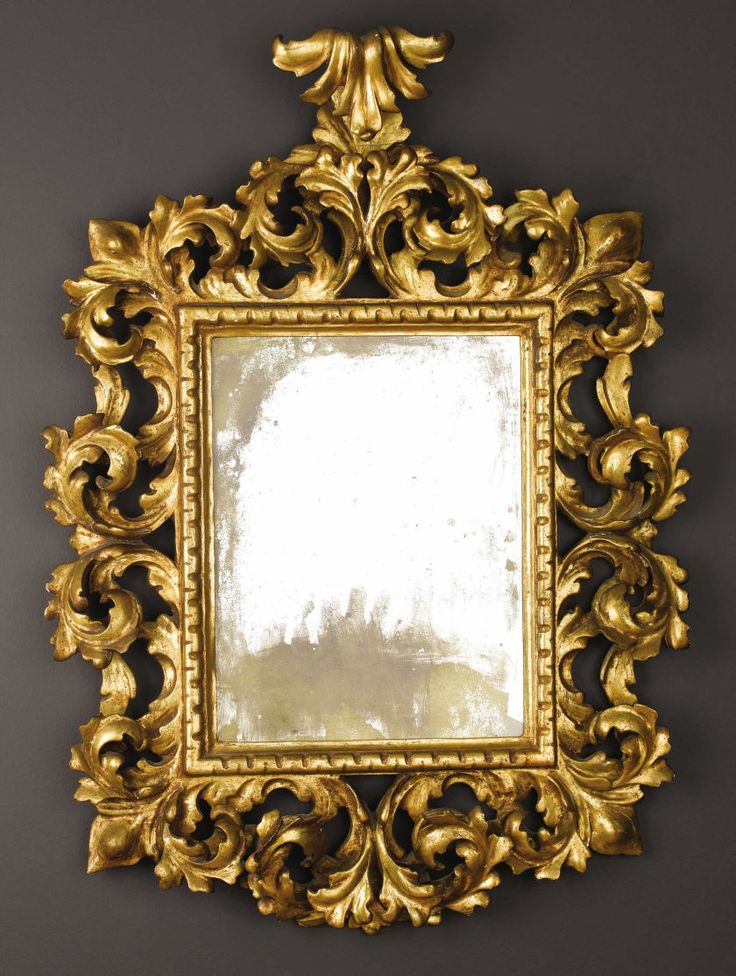 Espejo italiano de estilo barroco tallado de madera dorada for Espejo dorado bano