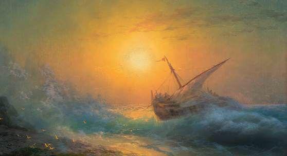 IVAN KONSTANTINOVICH AIVAZOVSKY (1817 Feodosija 1900). Stürmische See im Abendrot. 1896. Öl auf Leinwand. 68 x 99 cm. CHF 380 000 – 550 0000.