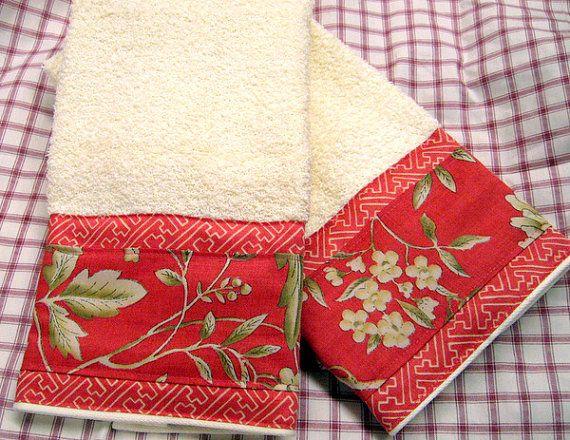 VILLA CAMELIA - (1 Set) 2-Custom Decorated on Cream Hand Towels -  Ralph Lauren Fabric