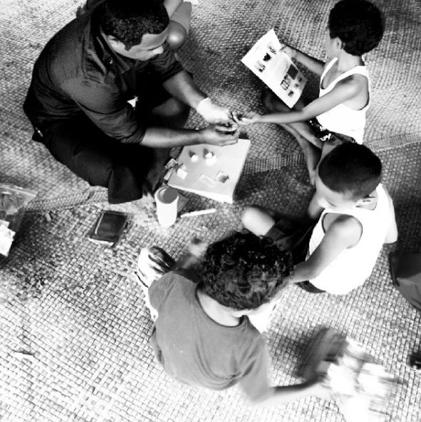 Three young children having blood tests as part of the lymphatic filariasis survey in fiji