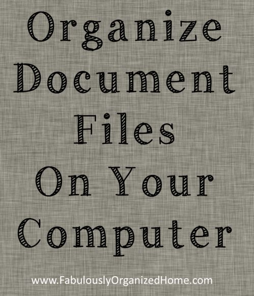 organize document files on your computer