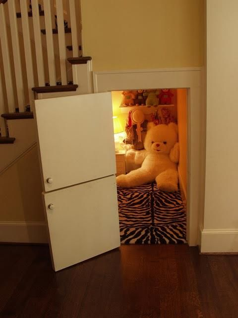 Is this something Harry Potter would envy after all his time living under the stairs at No 4 Privet Drive?    Why not turn the space under your stairs into a cubby for the kids?    Ask them what they think of the idea :D
