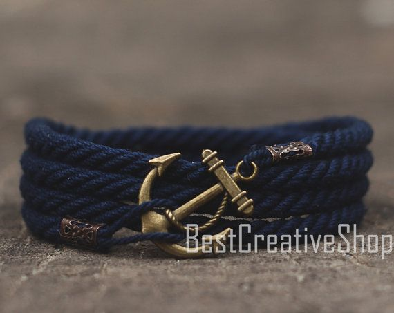 SALE! Anchor Bracelet / Navy Blue Bracelet / Sea Nautical Cotton Bracelet / Marine Rope Bracelet / Mens Bracelet Women and Men Rope Bracelet