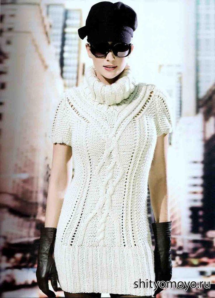 Бесплатные модели вязания спицами  со схемами: туника цвета слоновой кости