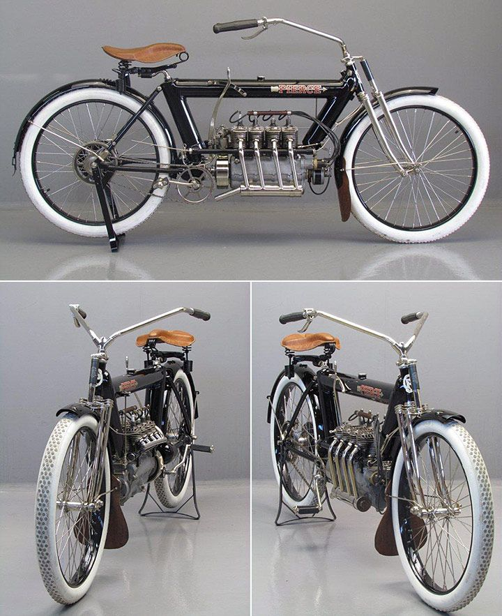 1912 Pierce Four Cylinder America S First Four Cylinder Motorcycle The Pierce Was Manufactured By Antique Motorcycles Vintage Bikes Classic Motorcycles
