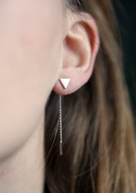 Triangle Earrings in White Gold, Arrow Earrings, Geometric Jewelry, Ear Thread Earrings