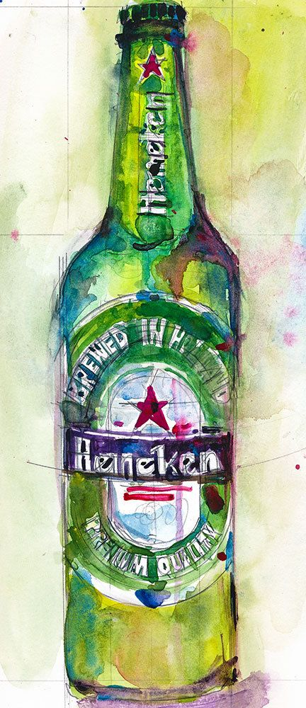 Heineken Beer Original Watercolor (Print Size - 8.5  x. 11)
