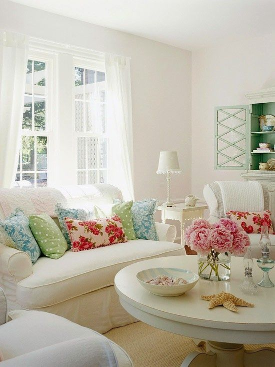 I pretty much dislike white walls, but this room really does look light, cool, and inviting. (for summer anyway! lol) @Dalayna McKnight