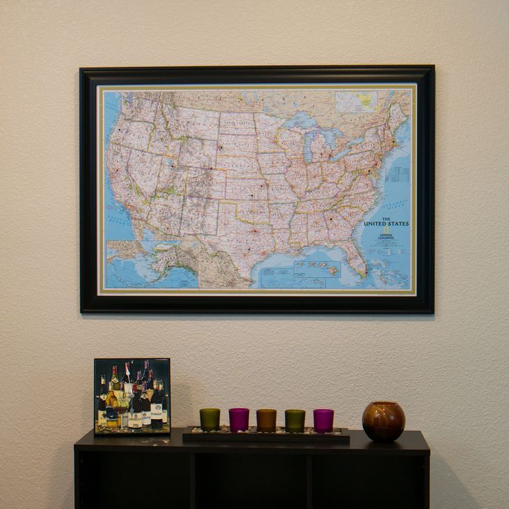Classic US Travel Map with Pins 11