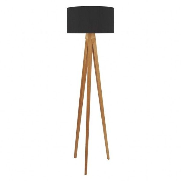 TRIPOD Dark Stained Wooden Tripod Floor Lamp With Black Silk Shade ($300) ❤  Liked