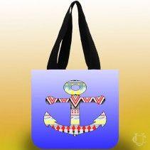 Anchor Aztec motif blue Tote Bags