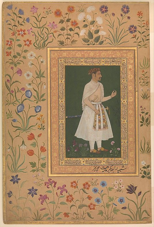 """Portrait of Raja Bikramajit (Sundar Das)"", Folio from the Shah Jahan Album Painting by Bichitr  (active ca. 1610–60)"