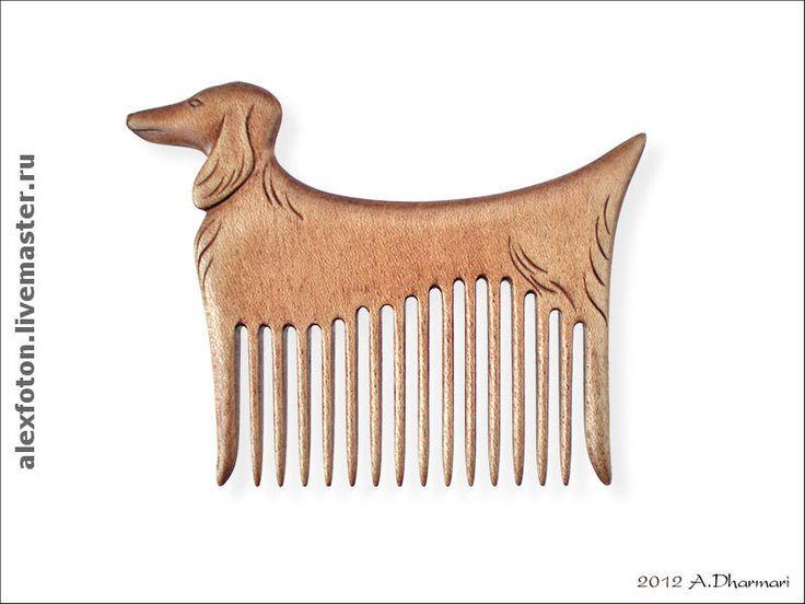 """Купить Гребень для волос деревянный """"Такса"""" - резьба по дереву, деревянный гребень, гребни, расческа"""