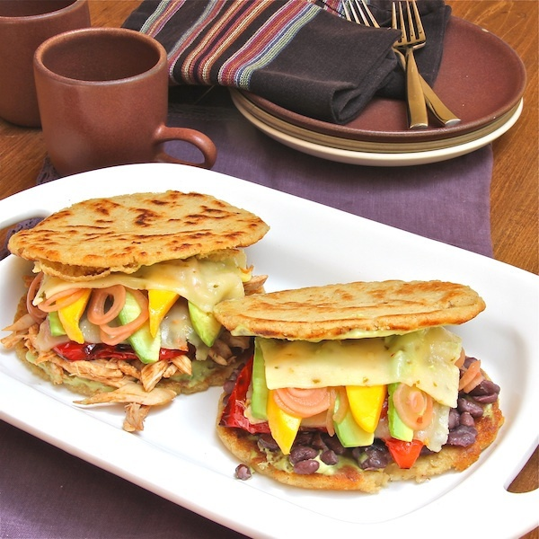 Arepas Rellenas - The Wimpy Vegetarian. Well, we better make these too! Do the usual cheese sub.