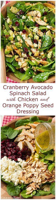 Pollo, espinacas, arandanos rojos, cascara de naranja, queso, semilla de amapolas, almendras tostadas. Aderezo mostaza de dijon , miel jugo de limon, oliva.