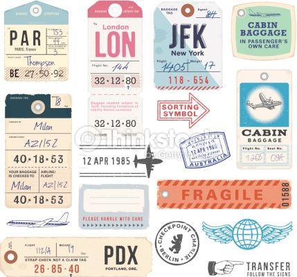 Vintage Luggage Tags and Stamps. EPS 10