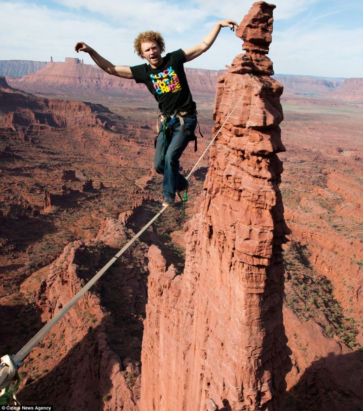 The world's largest adventure playground: Rocky outcrops in the desert that are just perfect for slacklining, skydiving and base-jumping