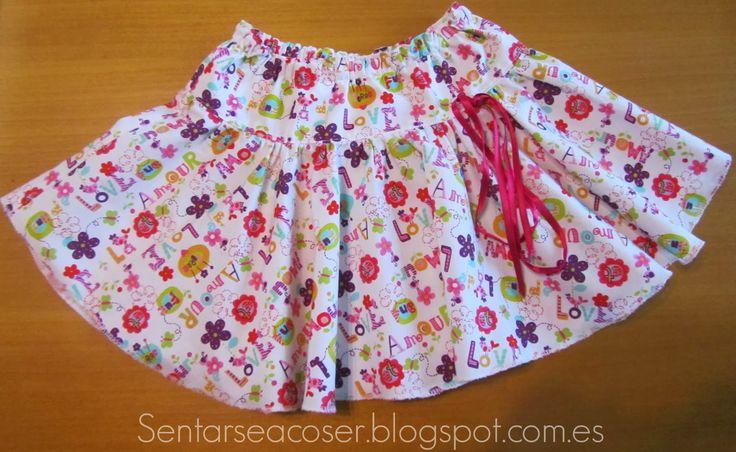 Sentarse a Coser: Tutorial falda de niña a capa y con canesú. Fácil de hacer