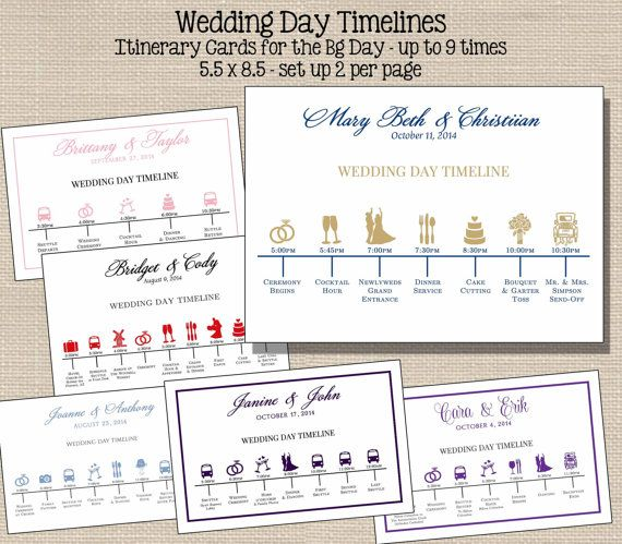 Wedding Day Timeline: I Would Live Timelines Like These For Out Wedding Party