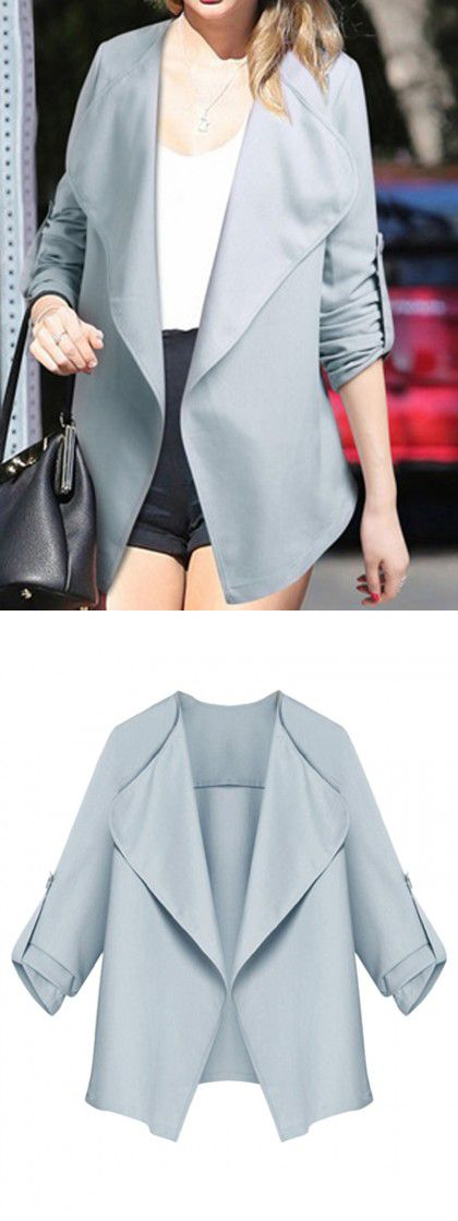 Blue Gray Lapel Roll Up Sleeve Open Front Coat