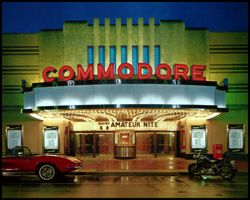 Commodore Theatre-luxuriously restored 1945 Art Deco style motion picture theatre presenting first run films with a fine dining restaurant within the main auditorium