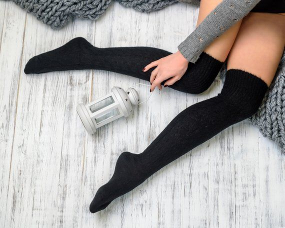 Women Long Winter Wool Warm Knit Over Knee Thigh High Stockings Socks Leggings