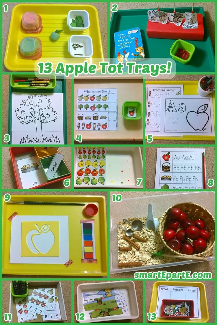 Enjoy the fall and harvest season with 13 fun apple tot trays and activities! We had a darling dough tray, some fun with Ten Apples Up on Top, and more!