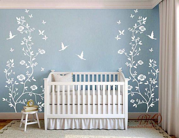 Foto Sticker Muur.Flower Tree Decal Wall Decal Tree Birds Hummingbirds Removable