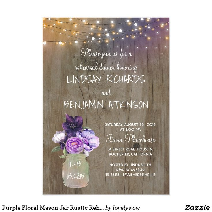 fairytale bridal shower invitation wording%0A Purple Floral Mason Jar Rustic Barn Bridal Shower Card Lilac and plum  purple flowers mason jar rustic bridal shower invitations with barn wood  and string