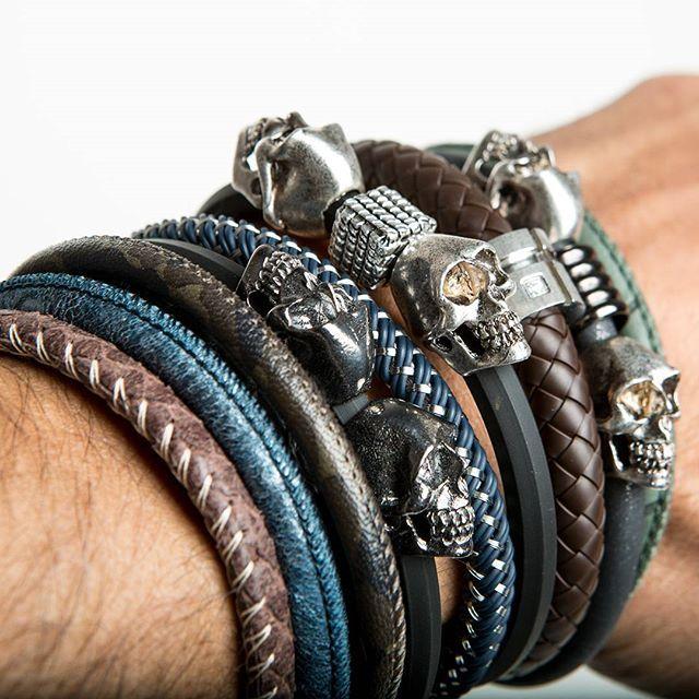 Addicted to bracelets Elena Estaun Man Collection graffistyle.com  #amazing #cool #bracelet #man #collection #leather #silver #skull #jewels #handmade #fashion #jewelry #moda #uomo #street #style #graffistyle