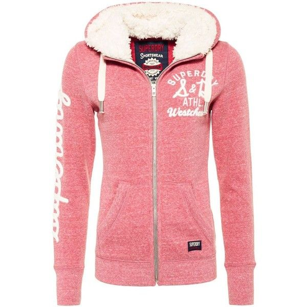Superdry Applique Borg Zip Hoodie ($73) ❤ liked on Polyvore featuring tops, hoodies, pink, women, zip hoodies, red hoodie, zip hoodie, hooded zip sweatshirt and zip up hoodie