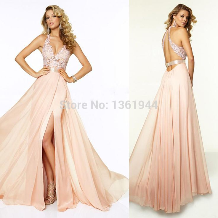 Sexy Floor-length Natural Sleeveless Deep V-neck V Back Long Prom ...