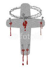 Kreuz mit den fünf Wundmalen und der Dornenkrone. Symbole für die Osterpassion am Karfreitag.