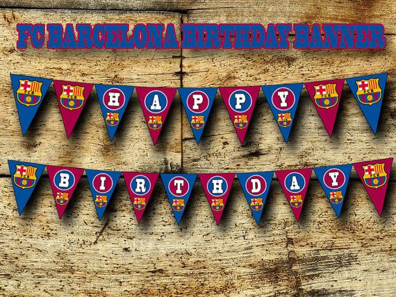 FC Barcelona Birthday Banner DIY Printable by SportfunDigital
