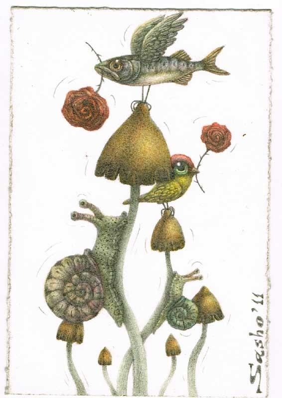 Magic Mushrooms and Animals from sashoart etsy shop