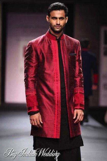 Manish Malhotra silk red kurta for grooms