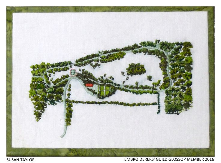 """Cadland"" by Susan Taylor, Embroiderers' Guild member of Glossop branch. Part of the ""Capability Brown at Chatsworth"" exhibition 1 Feb -10 May 2017. Embroideries based on landscapes and gardens. Exhibition held as part of the UK's Capability Brown Festival"