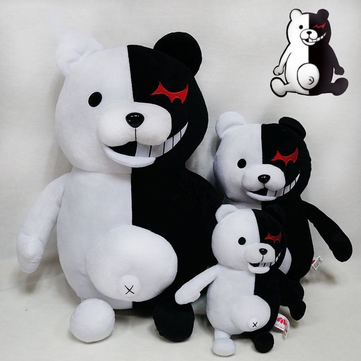 New Arrival 25cm Cute Cartoon Dolls Dangan Ronpa Monokuma Plush Toys Stuffed Animals Black White Bear Kids Toys Child Birthday #Affiliate