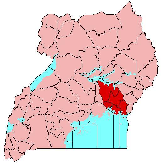 Location of Busoga (red) in Uganda (pink)