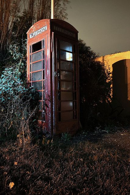Abandoned telephone booth