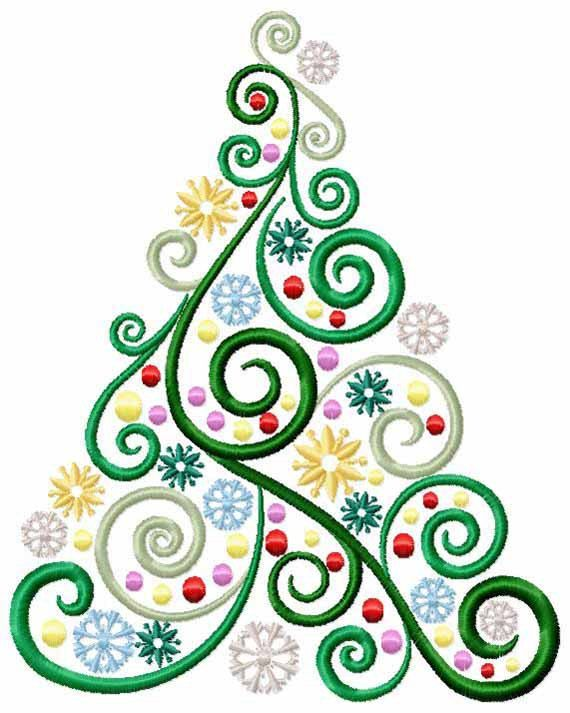 Christmas Tree Machine Embroidery Design - Swirls, Stars and Balls - Digital Download Embroidery Fiie