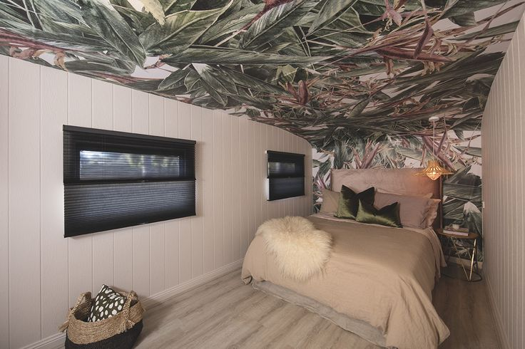 Bedroom 2, Luxaflex Duette Duo-Lite Shades - Three Birds Renovations House 7, River Shack